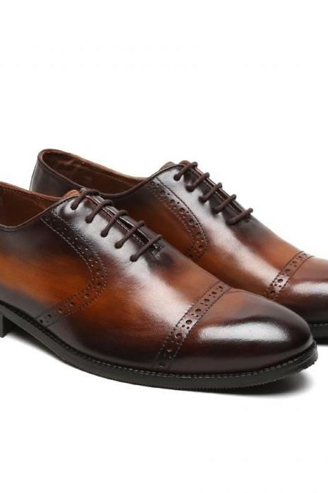 Oxford Leather Lace Up Shoes Handmade Two Tone Color Burnished Rounded Cap Toe