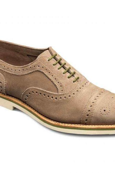 Men Brown Full Brogues Cap Toe Lace up Oxford Pure Suede Leather Shoes