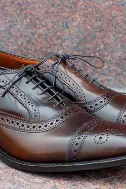 Men Burnished Brown & Black Full Brogues Cap Toe Lace up Oxford Pure Leather Shoe