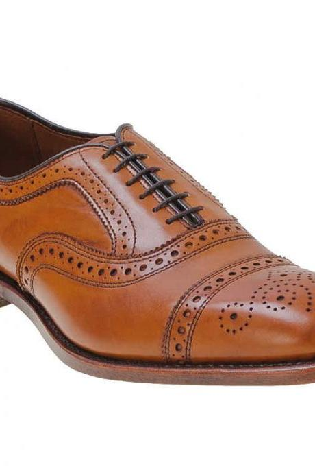 Brown Full Brogues Cap Toe Lace up Oxford Genuine Pure Leather Shoes For Men