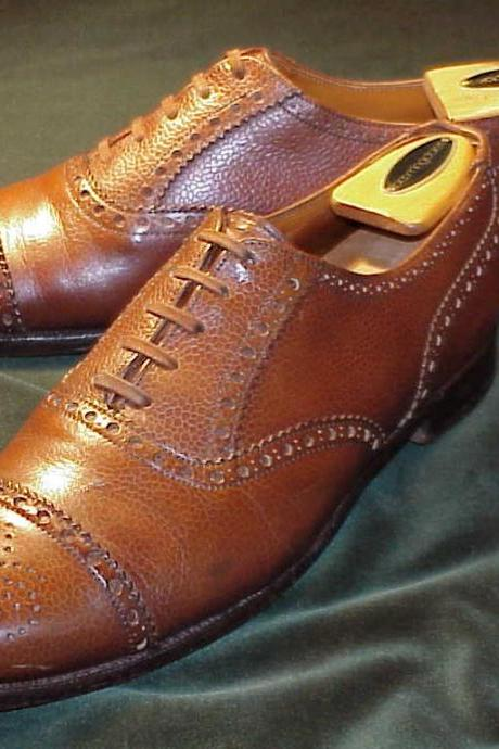 Customized Brown Brogues Cap Toe Lace up Pure Genuine Oxford Leather Shoe For Men