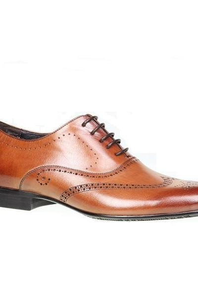 Hand Made Men Brown Wing Tip Brogue Toe Laceup Oxford Genuine Pure Leather Shoes