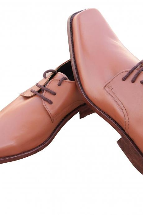 Hand Stitched Men Peach Color Lace up Casual Genuine Leather Shoe With Brown Sole