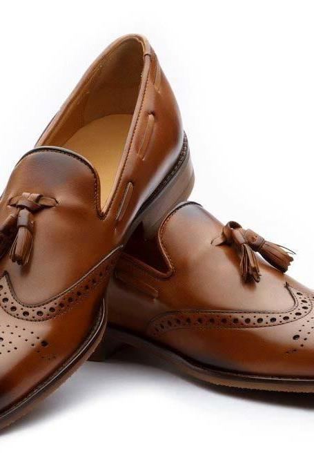 Two Tone Wing Tip Burnished Brogue Toe Tassel Loafer Genuine Leather Dress Shoes