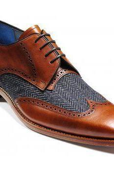 Men's Tweed Wing Tip Brown Color Derby Handmade Vintage Leather Lace up Shoes