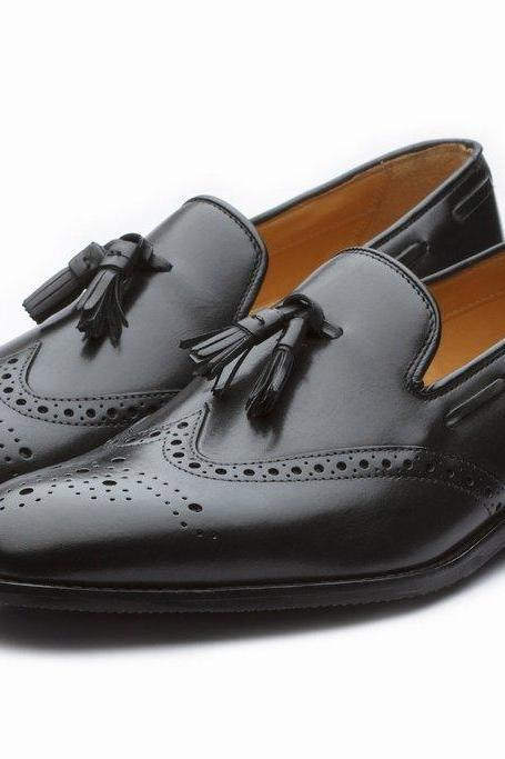 Black Color Tassel Loafer Wing Tip Brogues Toe Genuine Leather Shoes for Men's