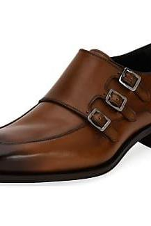 Brown Monks Triple Buckle Straps Burnished Toe Black Sole Leather Shoes for Men