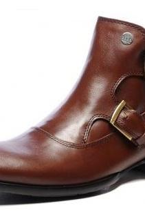 High Ankle Brown Plain Tip Double Buckle Straps Monk Pure Leather Boots