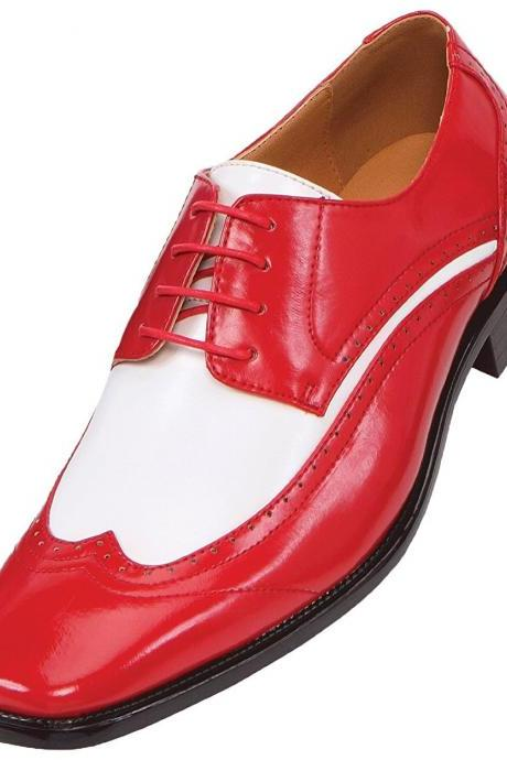 Oxford Two Tone Red White Contrast Wing Tip Black Sole Leather Lace Up Shoes