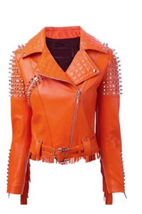 Women Orange Studded Western Style Fringes On Back Real Vintage Leather Jacket