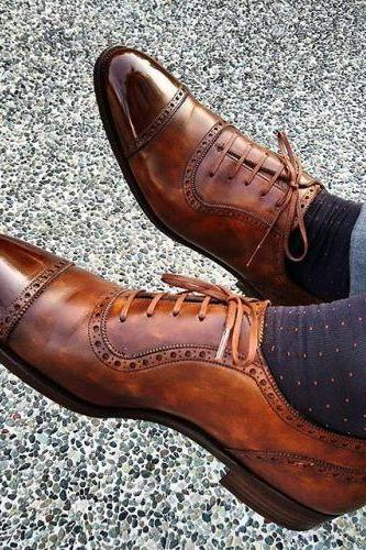 Oxford Cap Toe Casual Genuine Leather Shoes with Brown Lace up for Men's