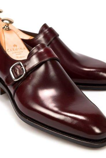 Maroon Plain Toe Monk with Pointed Tip Buckle Strap Leather Shoes for Men's