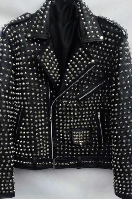 Black Color Genuine Leather Coat with Full Silver Studs Biker Jacket For Men's