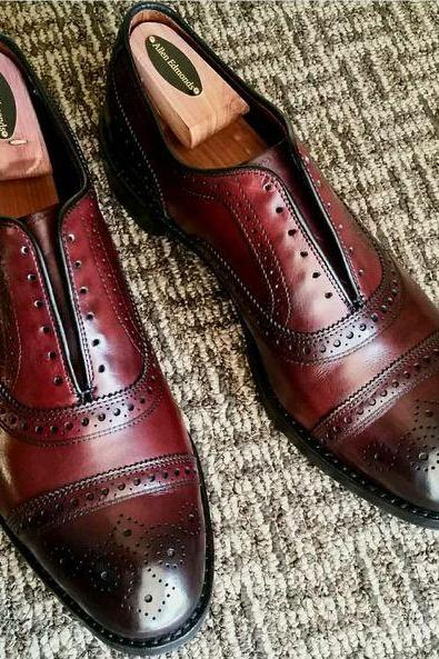 Two Tone Color Oxford Burnished Cap Toe Brogues Leather Lace up Shoes for Men's