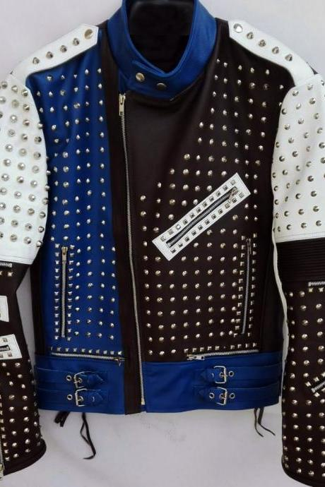 Multi Color Full Studded Biker Leather Jacket with Adjustable Waist Belted Strap