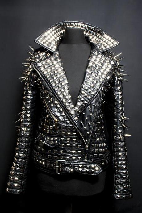 Made to order Men's Real Leather Jacket with Full Heavy Metal Silver Spike Studs