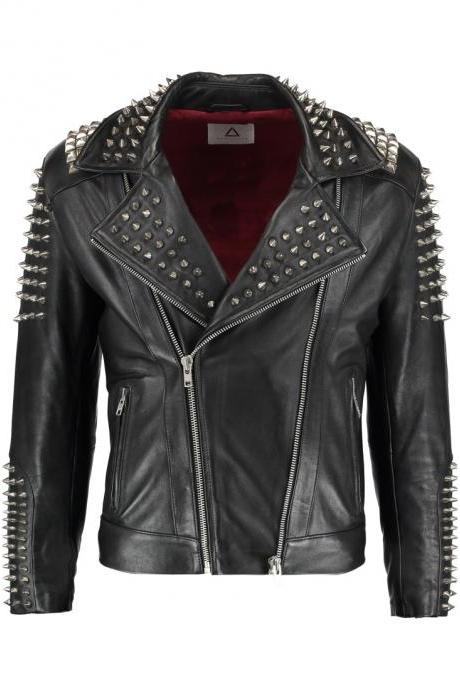 Stylish Black Color Elegant Leather Jacket with Silver Spike & Studs for Men