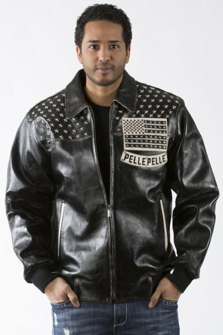 Black Genuine Leather Jacket Americana with Silver Star Studded Patches 4 Men's