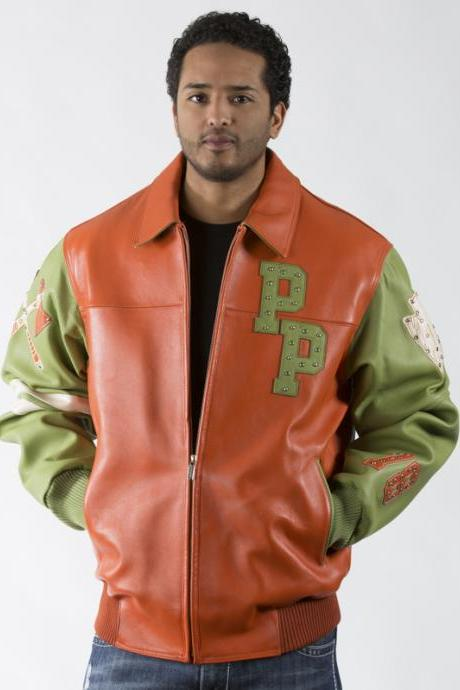 Two Tone Orange Green Leather Jacket with Multiple Studs Pelle Pelle Renegades