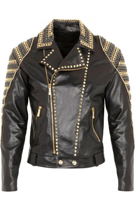 Men's Black Color Genuine Leather Handmade Golden Silver Contrast Studded Jacket