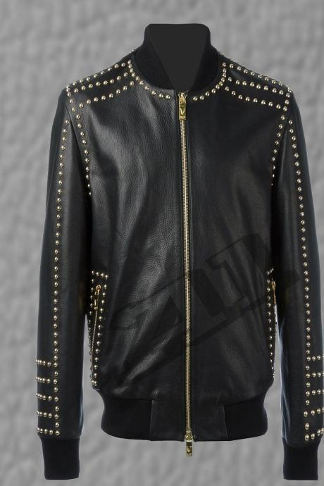 Men's Black Real Leather Gold Studs Jacket With Adjustable Ribs on Waist & Cuffs