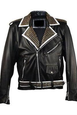 Studded Punk Men Leather Jacket Biker Style Shoulder Epaulets Embroidery Patches