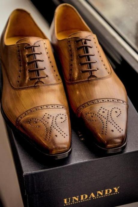 Tan Oxford Burnished Cap Toe Brogues Vintage Leather Lace up Shoes for Men's