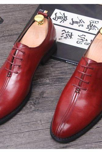 Maroon Oxford Plain Split Toe Stylish Leather Lace up Formal Shoes for Men