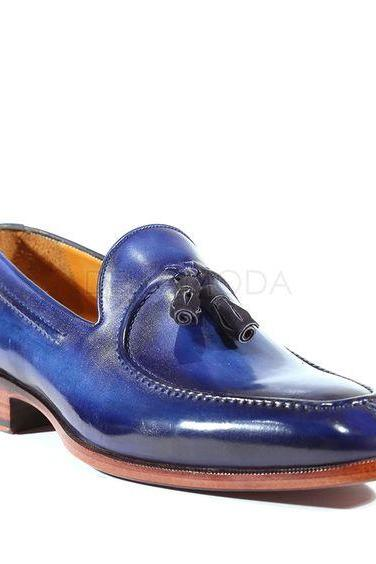 Men Blue Moccasin Loafer Slip Ons Real Leather with Black Tassels & Split Toe