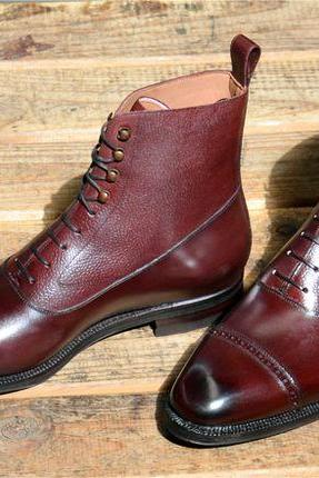 Two Tone Color High Ankle Cap Toe Genuine Leather Brown Lace Up Boots for Men's