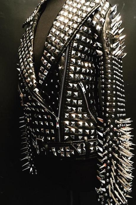 Black Leather Jacket with Full Heavy Metal Silver Spike Punk Studs for Women's