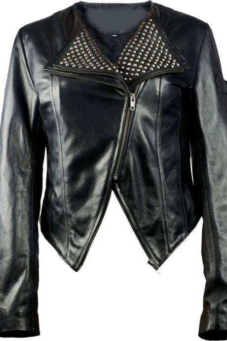 Women's Black Leather Short Collar Double Zipper Silver Studs Handmade Jacket