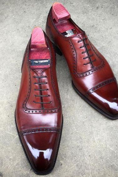 Maroon Color Oxford Plain Cap Toe Pointed Tip Elegant Leather Lace up Men Shoes