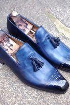 Blue Moccasin Loafer Slip Ons Real Leather with Black Tassel & Brogues Toe 4 Men