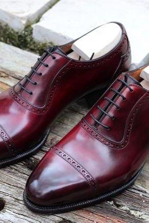 Oxford Plain Cap Toe Pointed Tip Elegant Leather Maroon Color Lace up Men Shoes