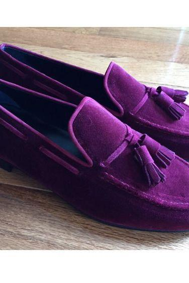 Genuine Suede Leather Purple Moccasin Loafer Slip Ons with Tassels for Men's