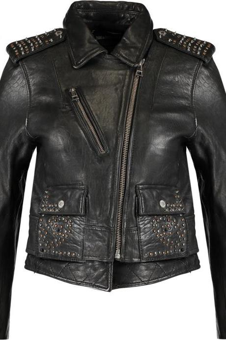 Black Color Genuine Leather Handmade Jacket with Multi Color Small Studs 4 Women