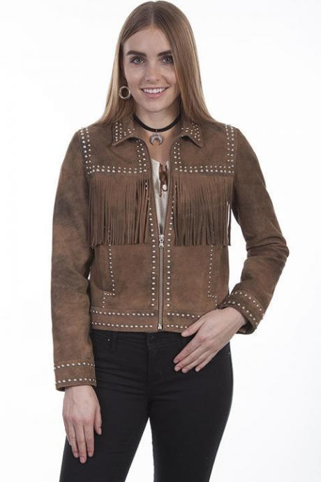 Women's Western Scully Brown Suede Leather Jacket with Silver Studs & Fringes