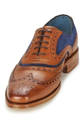 Brown Oxford Wing Tip Brogues Toe Vintage Leather Lace up Casual Dress Men Shoes