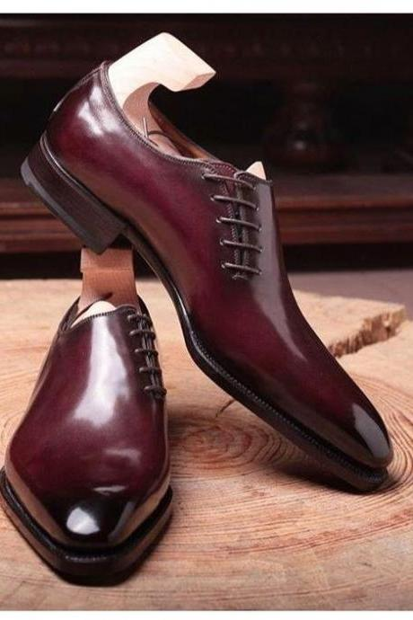 Burnished Oxford Plain Pointed Toe Stylish Leather Lace up Formal Shoes for Men