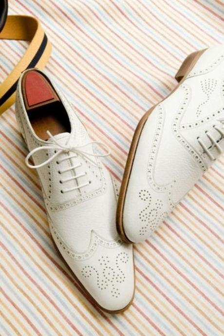 White Oxford Wing Tip Brogues Toe Leather Lace up & Brown Sole Casual Men Shoes