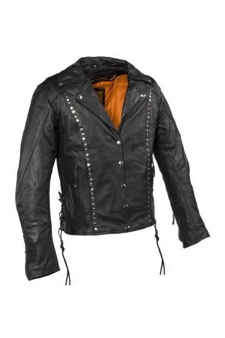 Black Real Leather Jacket with Front Button Closure and Silver Studs for Women's