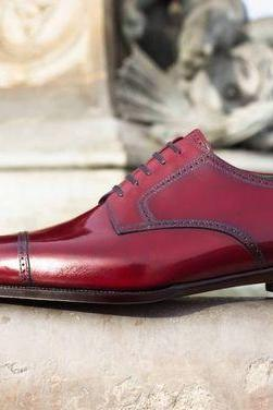 Men Oxford Party Wear Maroon Color Plain Cap Toe Real Leather Lace up Shoes