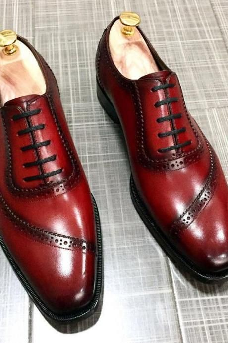 Oxford Brogue Cut Wide Toe Maroon Color Real Leather Lace up Casual Men Shoes