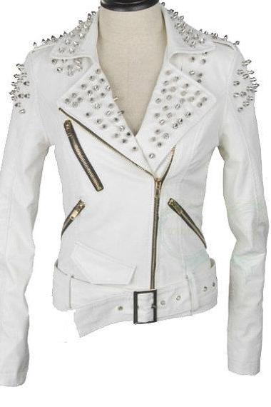 White Color Biker Vintage Leather Slim Fit Jacket with Silver Studs for Women's