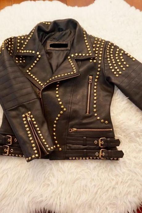Black Genuine Leather Adjustable Belted Waist Gold Studs Jacket for Women's