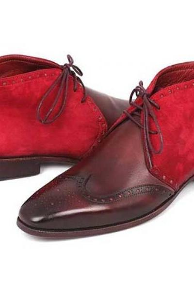 Maroon & Red Suede Real Leather Chukka Wing Tip Brogues Toe Lace up Men Boots
