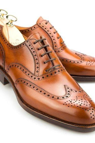 Brown Color Oxford Wing Tip Brogues Toe Real Leather Lace up Casual Men Shoes