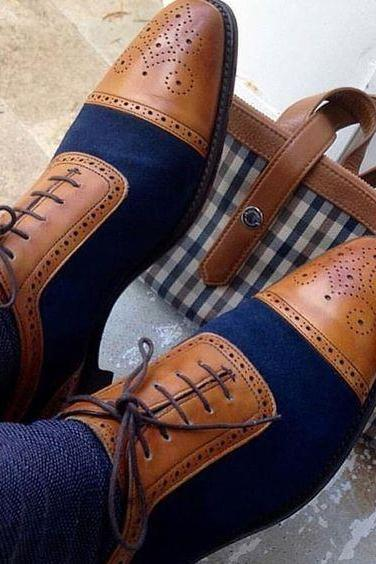 Two Tone Oxford Wing Tip Brogues Toe with Blue Suede Leather Lace up Men Shoes