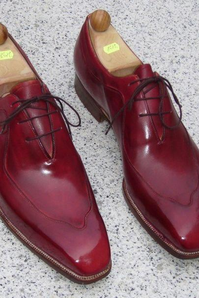 Men Classical Maroon Color Oxford Real Leather Plain Pointed Toe Lace up Shoes